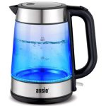 ANSIO Electric Kettle 2200W 1.7L Cordless, Glass Kettle with Boil Dry Protection & Auto Shut Off, Strix Controller