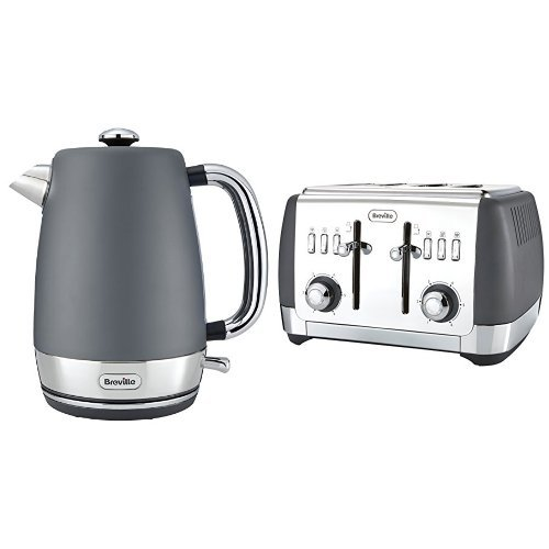 Breville Strata Kettle 4 Slice Toaster, Grey Bundle