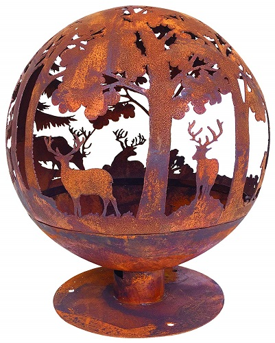 Esschert Design Fallen Fruits Oxidised Woodland Globe Sphere Fire Pit