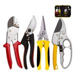 KOTTO Upgrade 4 Packs Pruner Shears Garden Cutter Clippers, Stainless Steel Sharp Pruner Secateurs, Professional Bypass Pruning Hand Tools Scissors Kit with Storage Bag