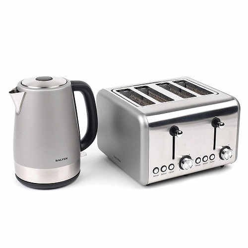 Salter COMBO-3647 Metallics Polaris Jug Kettle and 4-Slice Toaster Set