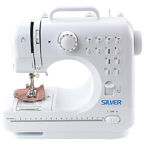 Silver 12 Stitch Mini Sewing Machine