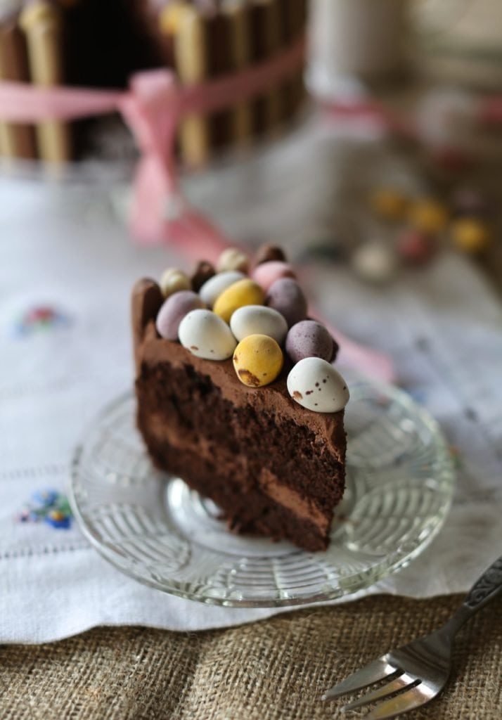 Slice of Simple Easter Mini Egg Nest Cake