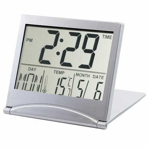 TRIXES Silver Desk Top Temperature Alarm Clock