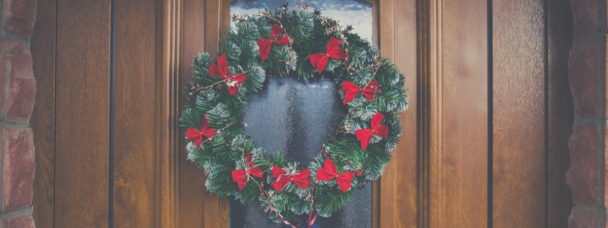 Christmas Wreath On Door Home Security