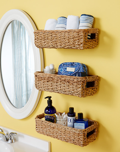 Use Baskets as Hanging Shelves