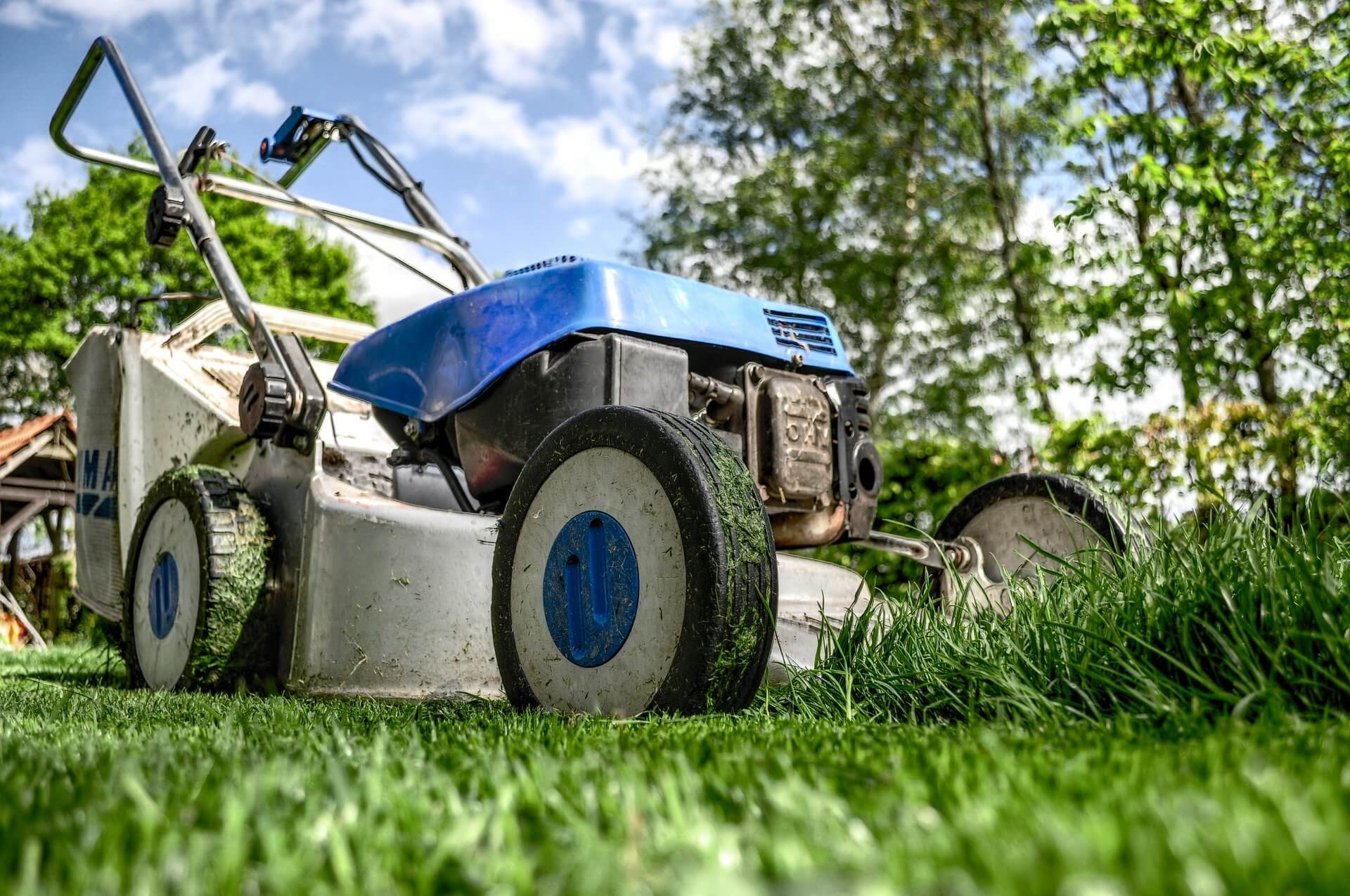 Blue Lawn Mower