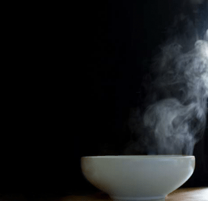 bowls of hot water
